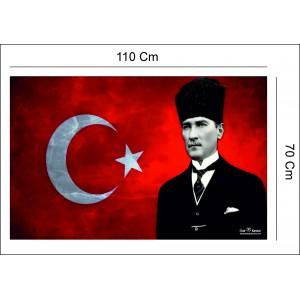 Atatürk`lü Branda Bayrak